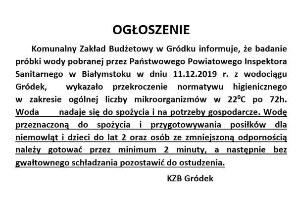 Ogłoszenie w sprawie jakości wody w wodociągu GRÓDEK