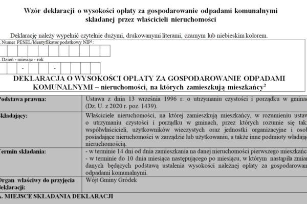 UWAGA MIESZKAŃCY !!! - obowiązek złożenia nowej deklaracji o wysokości opłaty za gospodarowanie odpadami komunalnymi